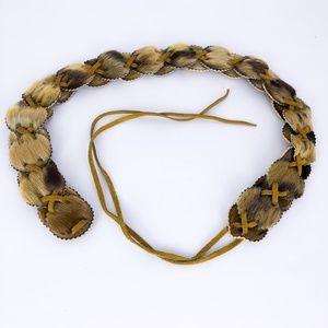 Vintage Leather Animal Hair Concho Belt